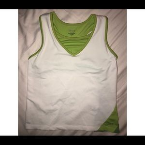 White and Green Breathable Workout Tank- Size M